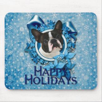 Navidad - copos de nieve azules - Boston Terrier Tapete De Raton