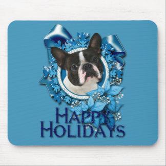 Navidad - copos de nieve azules - Boston Terrier Tapetes De Ratón