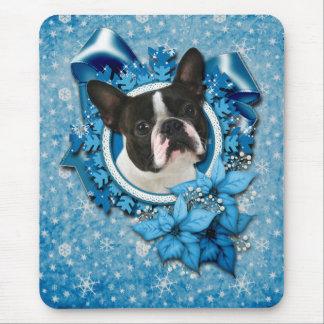 Navidad - copos de nieve azules - Boston Terrier Alfombrilla De Ratón