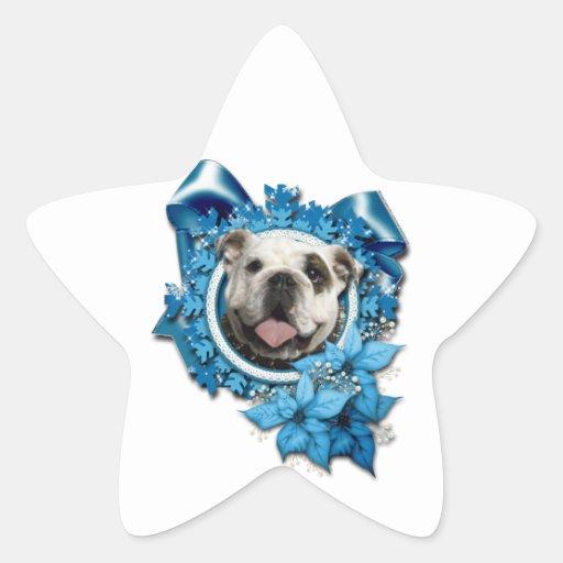 Navidad - copos de nieve azules - dogo pegatina en forma de estrella