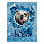 Navidad - copos de nieve azules - dogo postal