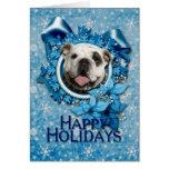 Navidad - copos de nieve azules - dogo tarjeta de felicitación