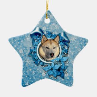 Navidad - copos de nieve azules - husky siberiano adorno de cerámica en forma de estrella