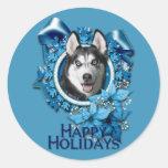 Navidad - copos de nieve azules - husky siberiano pegatina redonda