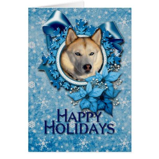 Navidad - copos de nieve azules - husky siberiano tarjeta