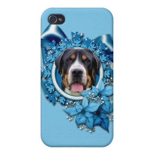 Navidad - copos de nieve azules - perro suizo de l iPhone 4 coberturas