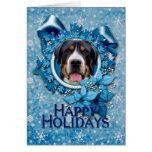 Navidad - copos de nieve azules - perro suizo de tarjeta de felicitación