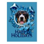 Navidad - copos de nieve azules - perro suizo de postal