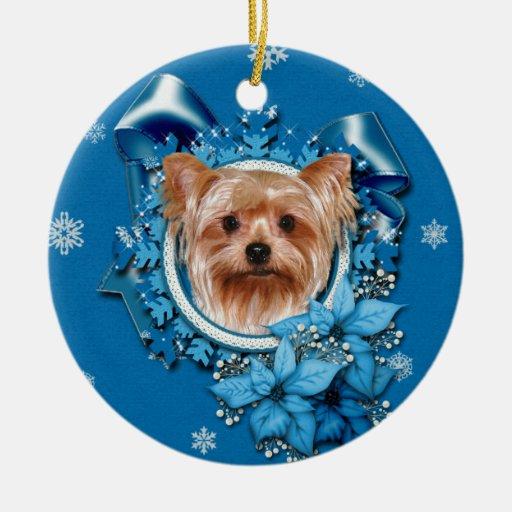 Navidad - copos de nieve azules - Yorkshire Terrie Ornamento Para Reyes Magos