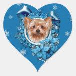 Navidad - copos de nieve azules - Yorkshire Terrie Calcomania De Corazon
