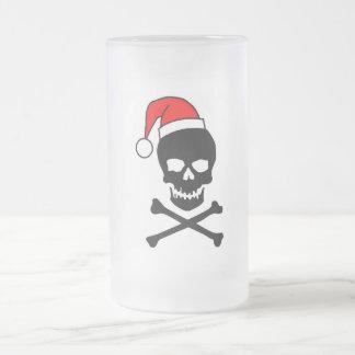 Navidad cráneo y bandera pirata taza cristal mate