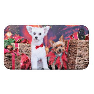 Navidad - Crestie Mojo - Yorkie Millie iPhone 4 Carcasa