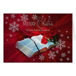 Navidad - cristiano - pastor/familia - rojo tarjeta de felicitación