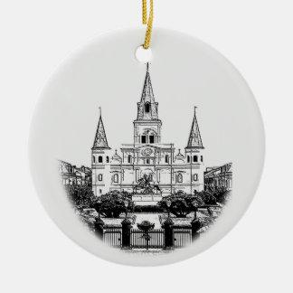Navidad cuadrado personalizado de New Orleans Adorno Redondo De Cerámica