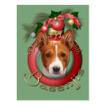 Navidad - cubierta los pasillos - Basenjis Tarjeta Postal