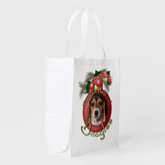 Navidad - cubierta los pasillos - beagles bolsas de la compra