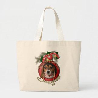 Navidad - cubierta los pasillos - beagles bolsas de mano
