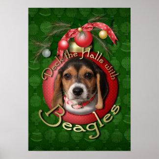 Navidad - cubierta los pasillos - beagles póster
