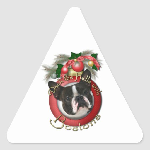 Navidad - cubierta los pasillos - Bostons Pegatina Triangular