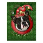 Navidad - cubierta los pasillos - Bostons Tarjetas Postales