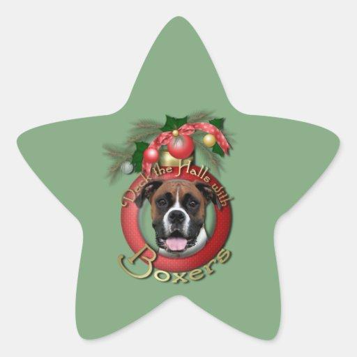 Navidad - cubierta los pasillos - boxeadores - pegatina en forma de estrella
