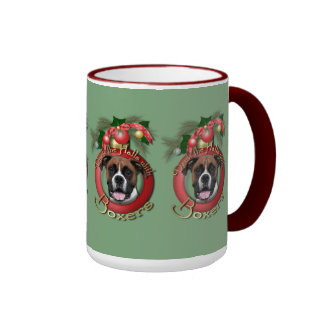Navidad - cubierta los pasillos - boxeadores - taza a dos colores