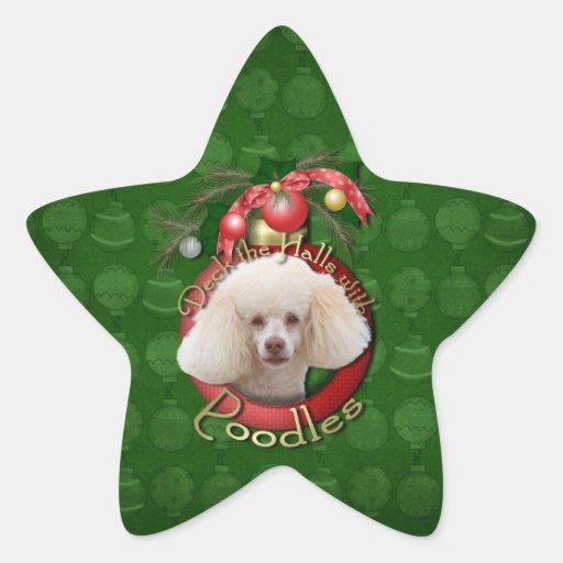Navidad - cubierta los pasillos - caniches - blanc calcomanias forma de estrella
