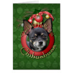 Navidad - cubierta los pasillos - chihuahuas - tarjetón