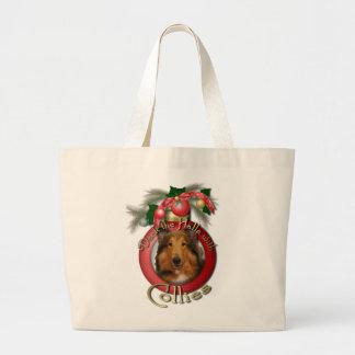 Navidad - cubierta los pasillos - collie - Natalie Bolsa Lienzo