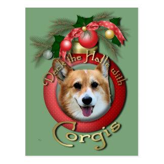 Navidad - cubierta los pasillos - Corgis - Owen Postales