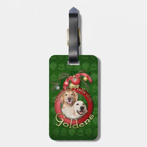Navidad - cubierta los pasillos - corona de Golden Etiqueta Para Maleta