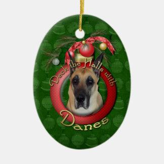 Navidad - cubierta los pasillos - daneses adorno navideño ovalado de cerámica