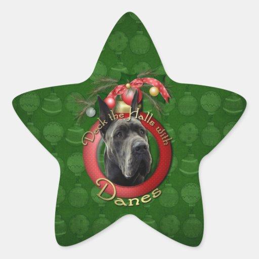 Navidad - cubierta los pasillos - daneses - gris calcomanías forma de estrella