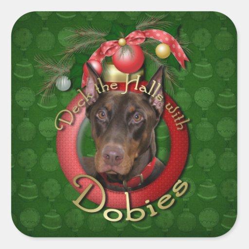 Navidad - cubierta los pasillos - Dobies - Rocky Pegatina Cuadrada