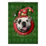 Navidad - cubierta los pasillos - dogos tarjeta de felicitación