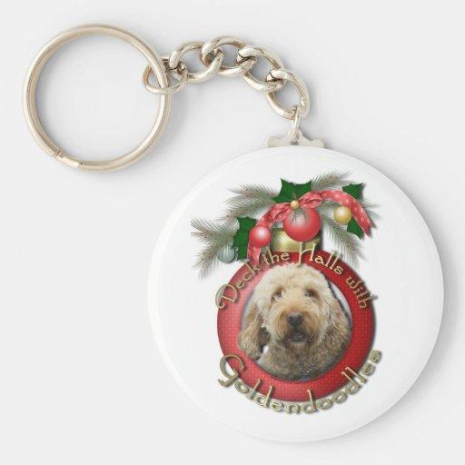 Navidad - cubierta los pasillos - Goldendoodles Llavero Personalizado