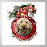 Navidad - cubierta los pasillos - Goldendoodles Posters