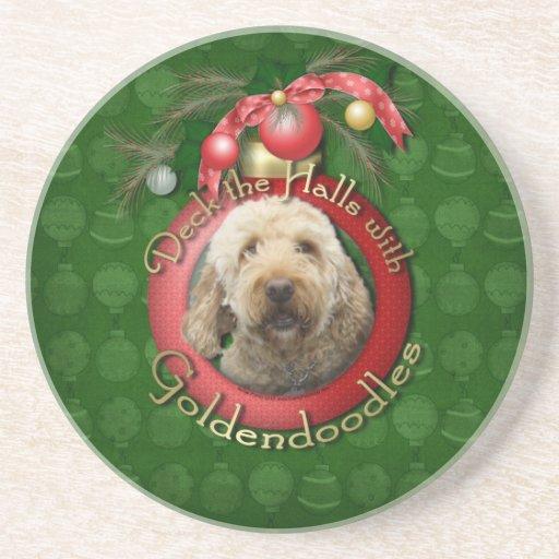 Navidad - cubierta los pasillos - Goldendoodles Posavasos Para Bebidas