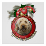 Navidad - cubierta los pasillos - Goldendoodles Póster