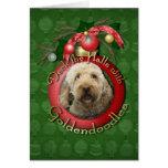 Navidad - cubierta los pasillos - Goldendoodles Felicitación