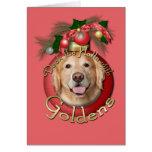 Navidad - cubierta los pasillos - Goldens - corona Tarjeta De Felicitación