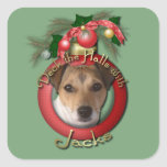 Navidad - cubierta los pasillos - Jack Russell Pegatinas Cuadradases Personalizadas