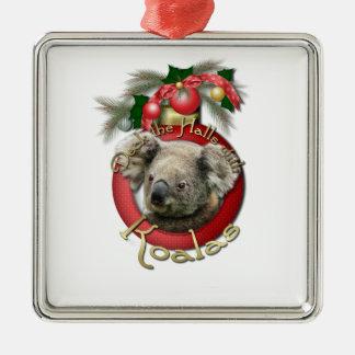 Navidad - cubierta los pasillos - koalas adorno navideño cuadrado de metal