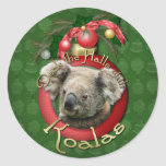 Navidad - cubierta los pasillos - koalas pegatina redonda