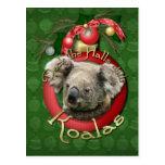 Navidad - cubierta los pasillos - koalas tarjeta postal