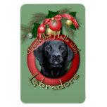 Navidad - cubierta los pasillos - Labrador - negro Imanes Rectangulares