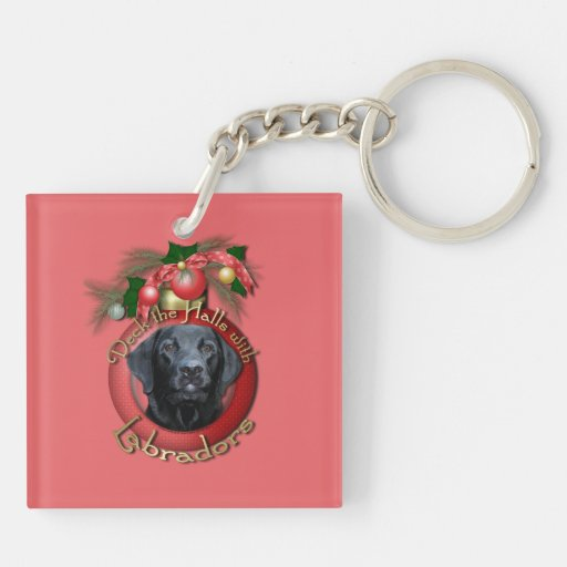 Navidad - cubierta los pasillos - Labrador - negro Llavero