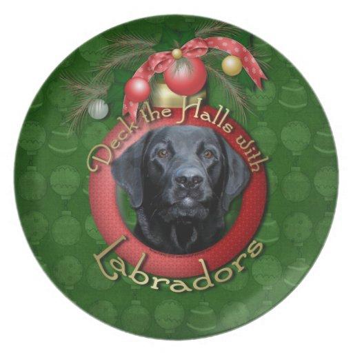 Navidad - cubierta los pasillos - Labrador - negro Platos Para Fiestas
