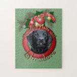 Navidad - cubierta los pasillos - Labrador - negro Rompecabezas