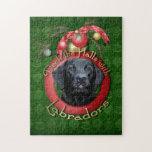 Navidad - cubierta los pasillos - Labrador - negro Rompecabeza